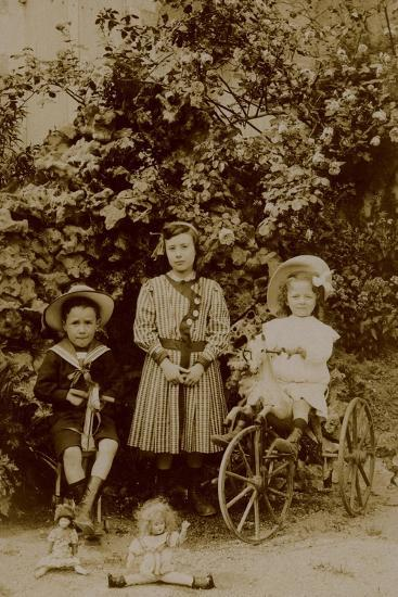 Children with Dolls, Rocking Horse and Tricycle, C.1890--Photographic Print