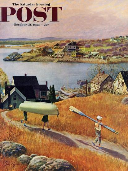 """Children with Rowboat"" Saturday Evening Post Cover, October 31, 1953-John Clymer-Giclee Print"