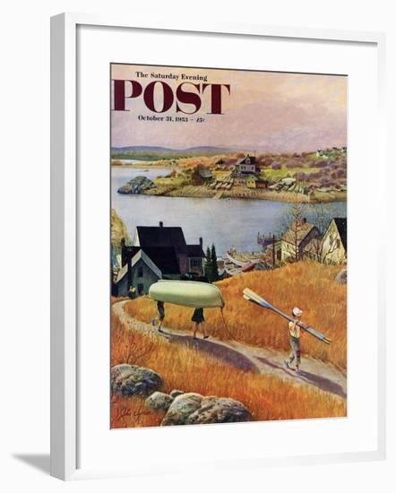 """""""Children with Rowboat"""" Saturday Evening Post Cover, October 31, 1953-John Clymer-Framed Giclee Print"""