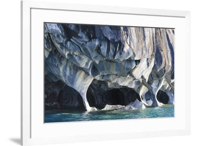 Chile, Aysen, Puerto Rio Tranquilo, Marble Chapel Natural Sanctuary. Limestone formations.-Fredrik Norrsell-Framed Photographic Print