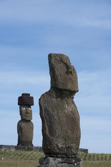 Chile, Easter Island, Hanga Roa. Ahu Tahai, Standing Moai Statue-Cindy Miller Hopkins-Photographic Print
