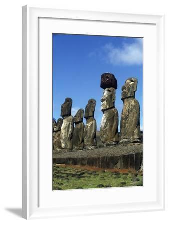 Chile, Easter Island, Rapa-Nui National Park, Ahu Tongariki, Moai Statues--Framed Giclee Print