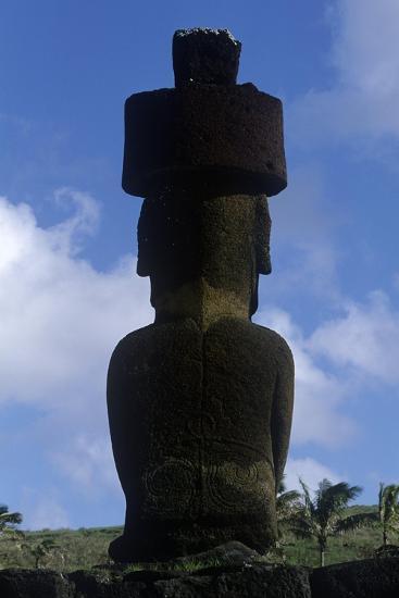 Chile, Easter Island, Rapa-Nui National Park, Anakena Beach, Ahu Nau Nau, Moai Statue, Rear View--Giclee Print