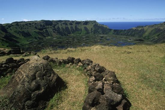 Chile, Easter Island, Rapa-Nui National Park, Rano Kau Volcano and Crater Lake--Giclee Print