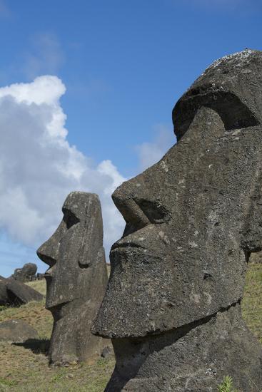Chile, Easter Island. Rapa Nui NP, Historic Site of Rano Raraku. Moi-Cindy Miller Hopkins-Photographic Print