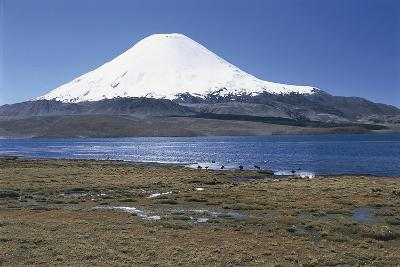 Chile, Norte Grande, Tarapacá, View of Chungara Lake and Parinacota Volcano in Andes Mountains--Giclee Print