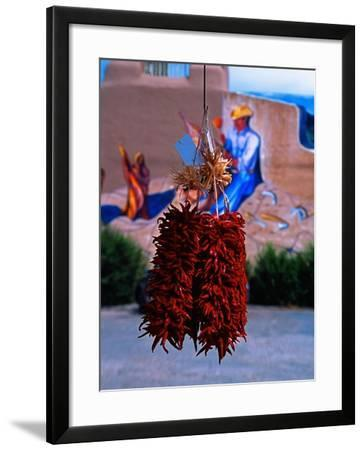 Chile Ristras of Taos, New Mexico-George Oze-Framed Photographic Print