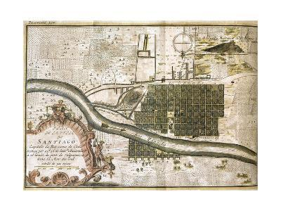 Chile. Santiago De Chile, Map in 1713--Giclee Print