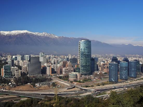 Chile, Santiago, View from the Parque Metropolitano towards the high raised buildings in financial -Karol Kozlowski-Photographic Print