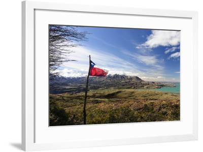 Chilean Flag on a Overlook, Puerto Ibanez, Aysen, Chile-Fredrik Norrsell-Framed Photographic Print