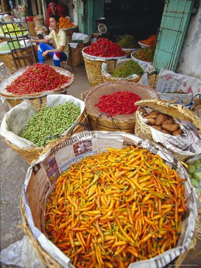 Chilies and Other Vegetables, Chinatown Market, Bangkok, Thailand, Asia-Robert Francis-Photographic Print