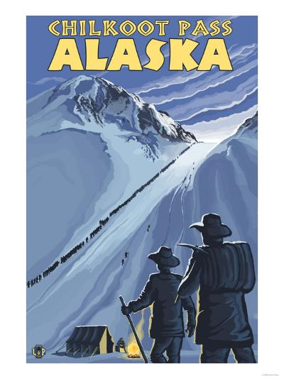 Chilkoot Pass, Alaska Gold Miners-Lantern Press-Art Print