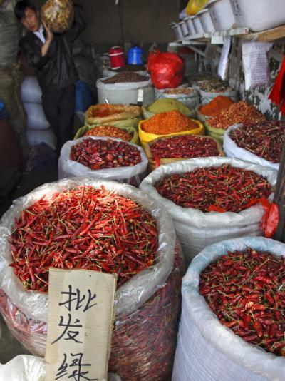 Chilli Peppers and Spices on Sale in Wuhan, Hubei Province, China-Andrew Mcconnell-Photographic Print
