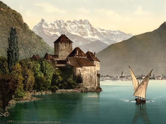 Chillon Castle, and Dent Du Midi, Geneva Lake, Switzerland, C.1890-C.1900--Premium Giclee Print