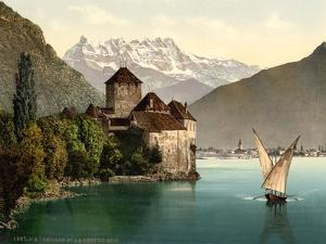 Chillon Castle, and Dent Du Midi, Geneva Lake, Switzerland, C.1890-C.1900