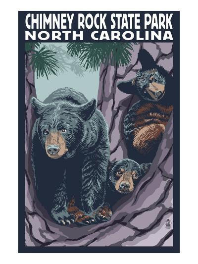 Chimney Rock State Park, NC - Bear and Cubs-Lantern Press-Art Print