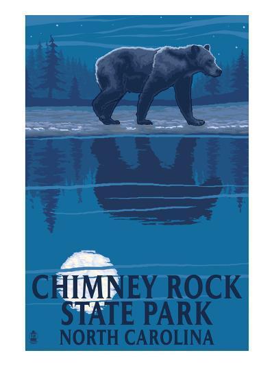Chimney Rock State Park, NC - Bear at Night-Lantern Press-Art Print