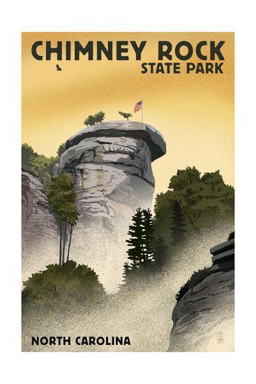 Chimney Rock State Park, North Carolina - Chimney Rock - Lithograph Style-Lantern Press-Art Print