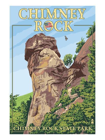 Chimney Rock State Park, North Carolina-Lantern Press-Art Print