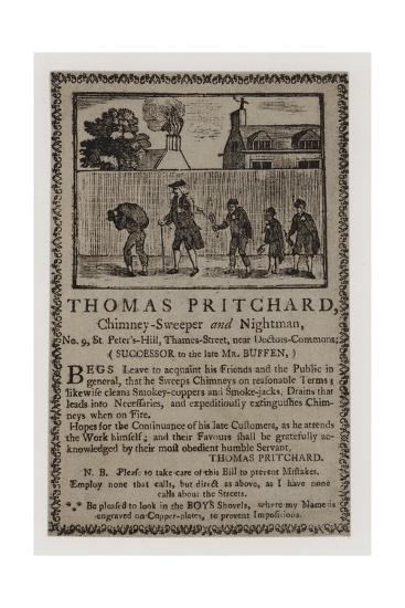 Chimney Sweeps, Thomas Pritchard, Trade Card--Giclee Print