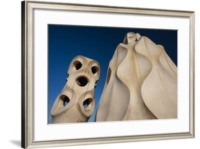 Chimneys as Abstract Sculptures by Gaudi on the Rooftop of Casa Mila, also Know as La Pedrera-Michael Melford-Framed Photographic Print