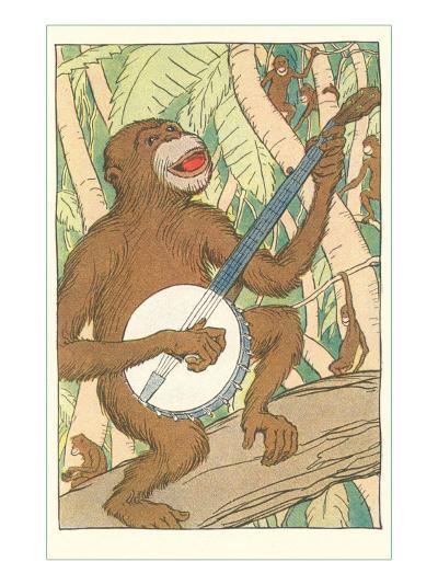 Chimp Playing Banjo--Art Print