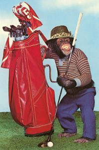 Chimp with Golf Bag