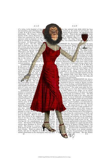 Chimp With Wine-Fab Funky-Art Print