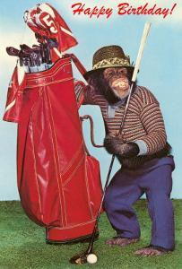 Chimpanzee with Golf Bag