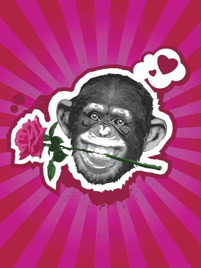 Chimpanzee with Rose in Mouth-New Vision Technologies Inc-Photographic Print