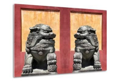China 10MKm2 Collection - Asian Sculpture with two Lions-Philippe Hugonnard-Metal Print