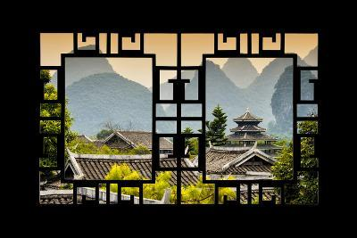China 10MKm2 Collection - Asian Window - Chinese Buddhist Temple with Karst Mountains at Sunset-Philippe Hugonnard-Photographic Print