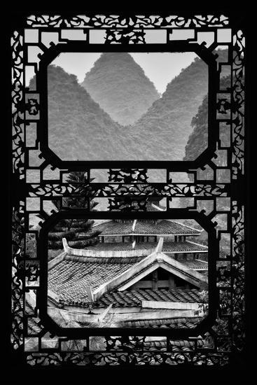 China 10MKm2 Collection - Asian Window - Chinese Buddhist Temple with Karst Mountains-Philippe Hugonnard-Photographic Print