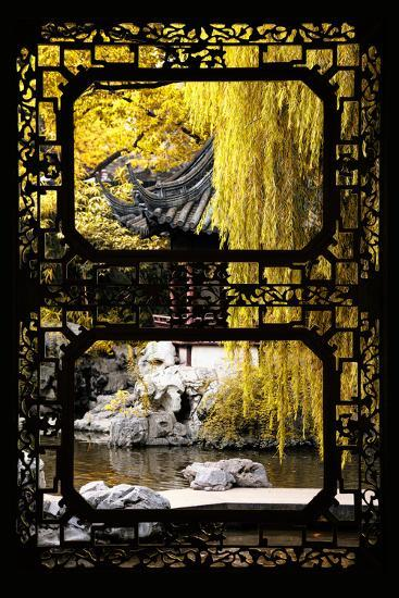 China 10MKm2 Collection - Asian Window - Classical Chinese Pavilion Fall Colors-Philippe Hugonnard-Photographic Print