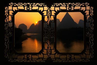China 10MKm2 Collection - Asian Window - Great View of Yangshuo with Karst Mountains at Sunrise-Philippe Hugonnard-Photographic Print