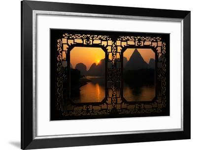 China 10MKm2 Collection - Asian Window - Great View of Yangshuo with Karst Mountains at Sunrise-Philippe Hugonnard-Framed Photographic Print