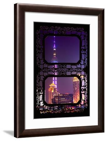 China 10MKm2 Collection - Asian Window - Oriental Pearl Tower at Night - Shanghai-Philippe Hugonnard-Framed Photographic Print