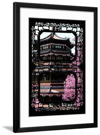 China 10MKm2 Collection - Asian Window - Pink Summer Temple-Philippe Hugonnard-Framed Photographic Print