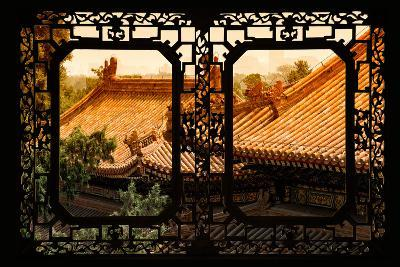 China 10MKm2 Collection - Asian Window - Roofs of Summer Palace at Sunset-Philippe Hugonnard-Photographic Print