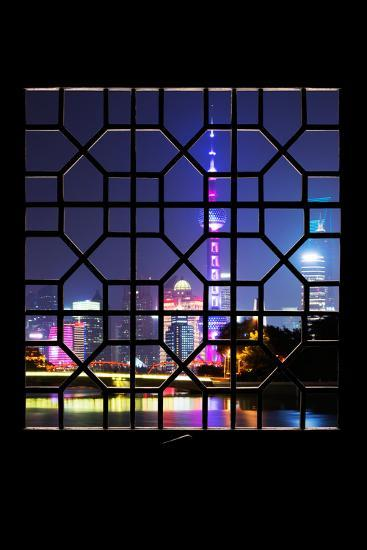 China 10MKm2 Collection - Asian Window - Shanghai Cityscape at night-Philippe Hugonnard-Photographic Print