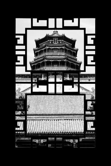 China 10MKm2 Collection - Asian Window - Summer Palace Temple-Philippe Hugonnard-Photographic Print