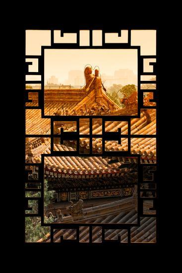 China 10MKm2 Collection - Asian Window - Sunset Summer Palace Architecture-Philippe Hugonnard-Photographic Print