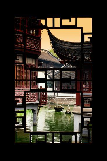 China 10MKm2 Collection - Asian Window - Traditional Architecture in Yuyuan Garden - Shanghai-Philippe Hugonnard-Photographic Print