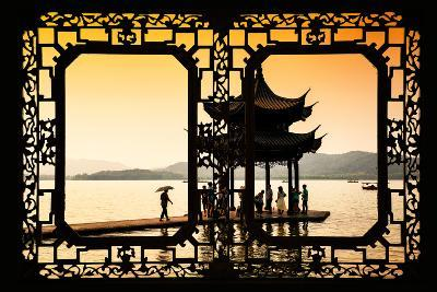 China 10MKm2 Collection - Asian Window - Water Temple at sunset-Philippe Hugonnard-Photographic Print