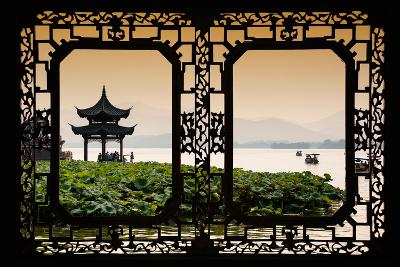 China 10MKm2 Collection - Asian Window - West Lake at sunset-Philippe Hugonnard-Photographic Print
