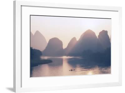 China 10MKm2 Collection - Beautiful Scenery of Yangshuo with Karst Mountains at Pastel Sunrise-Philippe Hugonnard-Framed Photographic Print