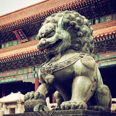 China 10MKm2 Collection - Bronze Chinese Lion in Forbidden City-Philippe Hugonnard-Photographic Print