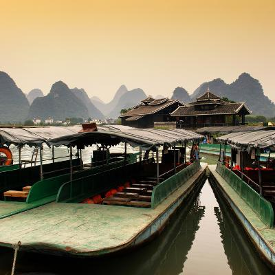 China 10MKm2 Collection - Chinese Boats with Karst Mountains at Sunset-Philippe Hugonnard-Photographic Print