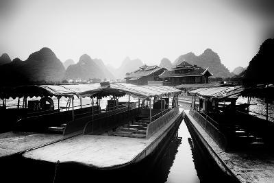 China 10MKm2 Collection - Chinese Boats with Karst Mountains-Philippe Hugonnard-Photographic Print