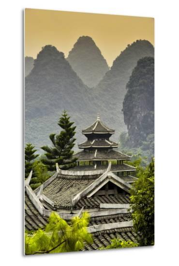 China 10MKm2 Collection - Chinese Buddhist Temple with Karst Mountains at Sunset-Philippe Hugonnard-Metal Print